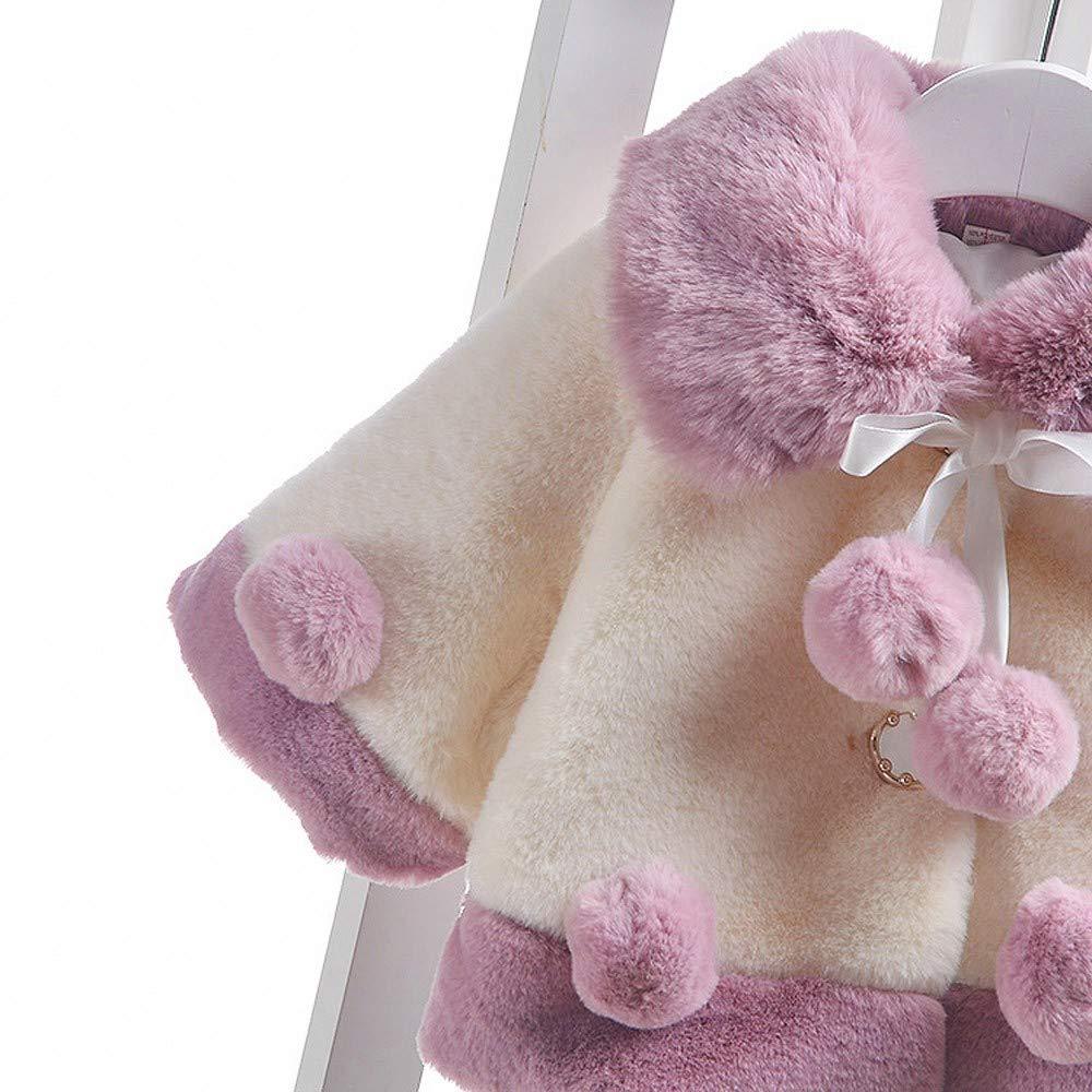 WARMSHOP Toddler Girls Cloak Jacket,2018 Stylish Autumn Winter Velvet Thick Warm Coat with Balls Comfort Fur Outwear