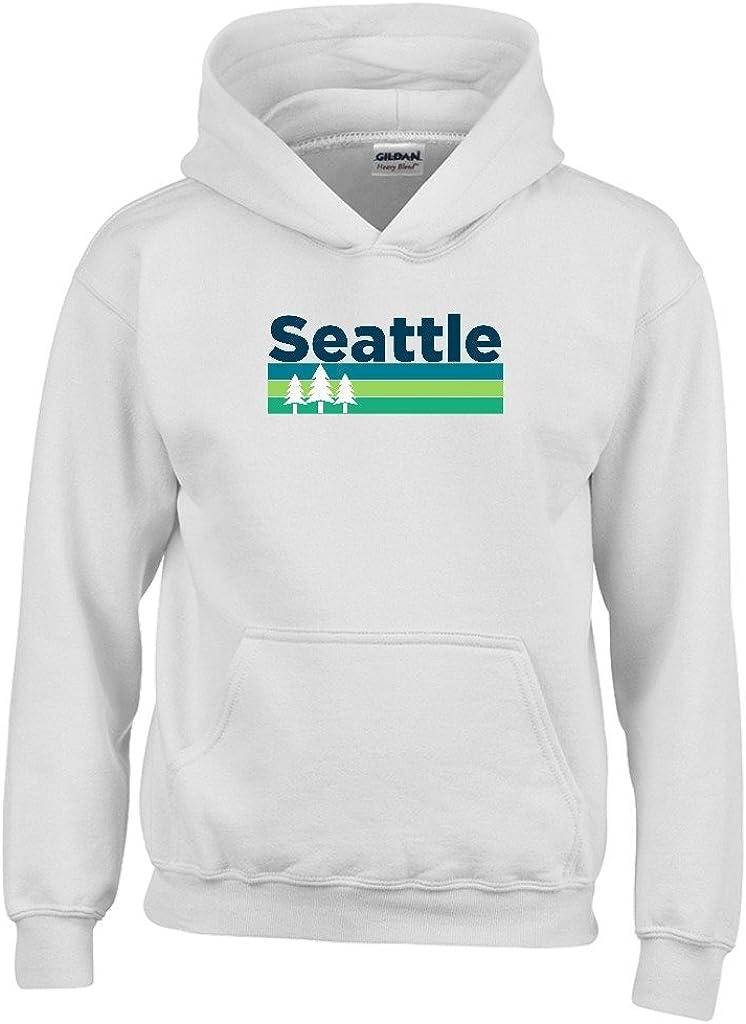 Washington Kids Sweatshirt Seattle Retro Trees Youth Hoodie
