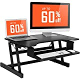 """[2018 NEW] Height Adjustable Standing Desk SMONET Sit Stand Up Desk Riser , 32"""" Tabletop Workstation fits Dual Monitor with Retractable Keyboard Tray - Black"""