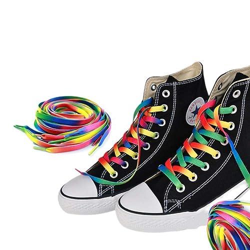Aofocy 1 par de zapatos de lona de arco iris con cordones planos zapatillas de deporte zapatillas cordones cadenas 110cm: Amazon.es: Zapatos y complementos