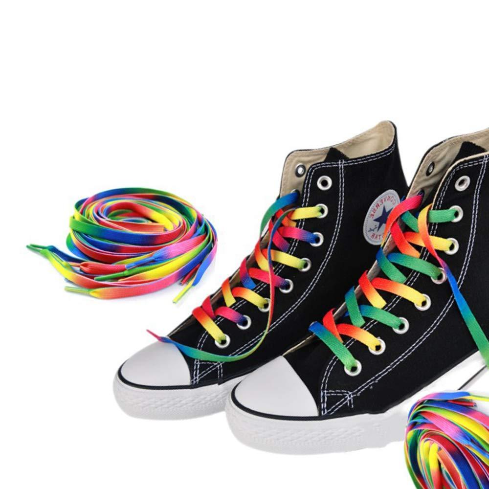 Potelin 1 Pair Rainbow Flat Canvas Shoelace Sneaker Shoe Laces Boots Strings 110cm