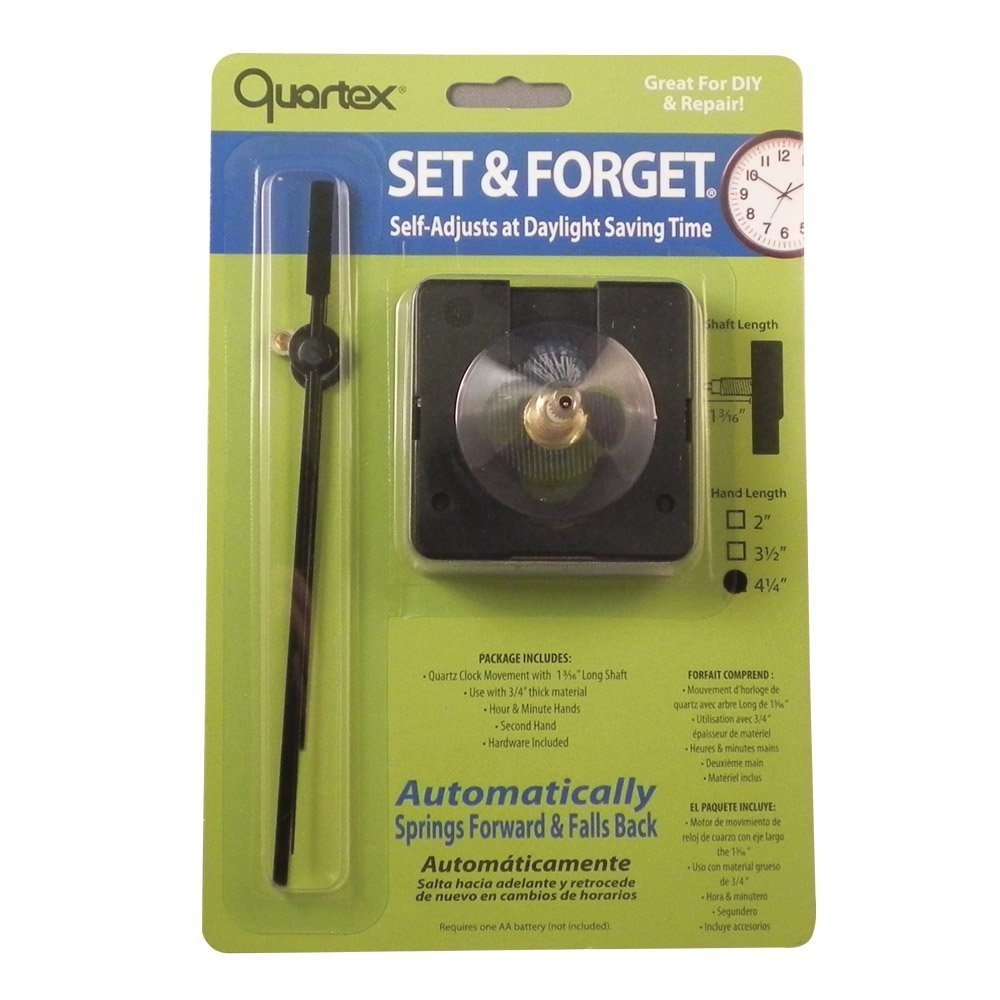 Quartex Set Forget Clock Movement Set 3 4 Max Dial Thickness Black 3 1 2 Hands