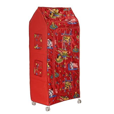 Archana Nhr Plastic Folding Baby Almirah ( 5 Shelf, Red)