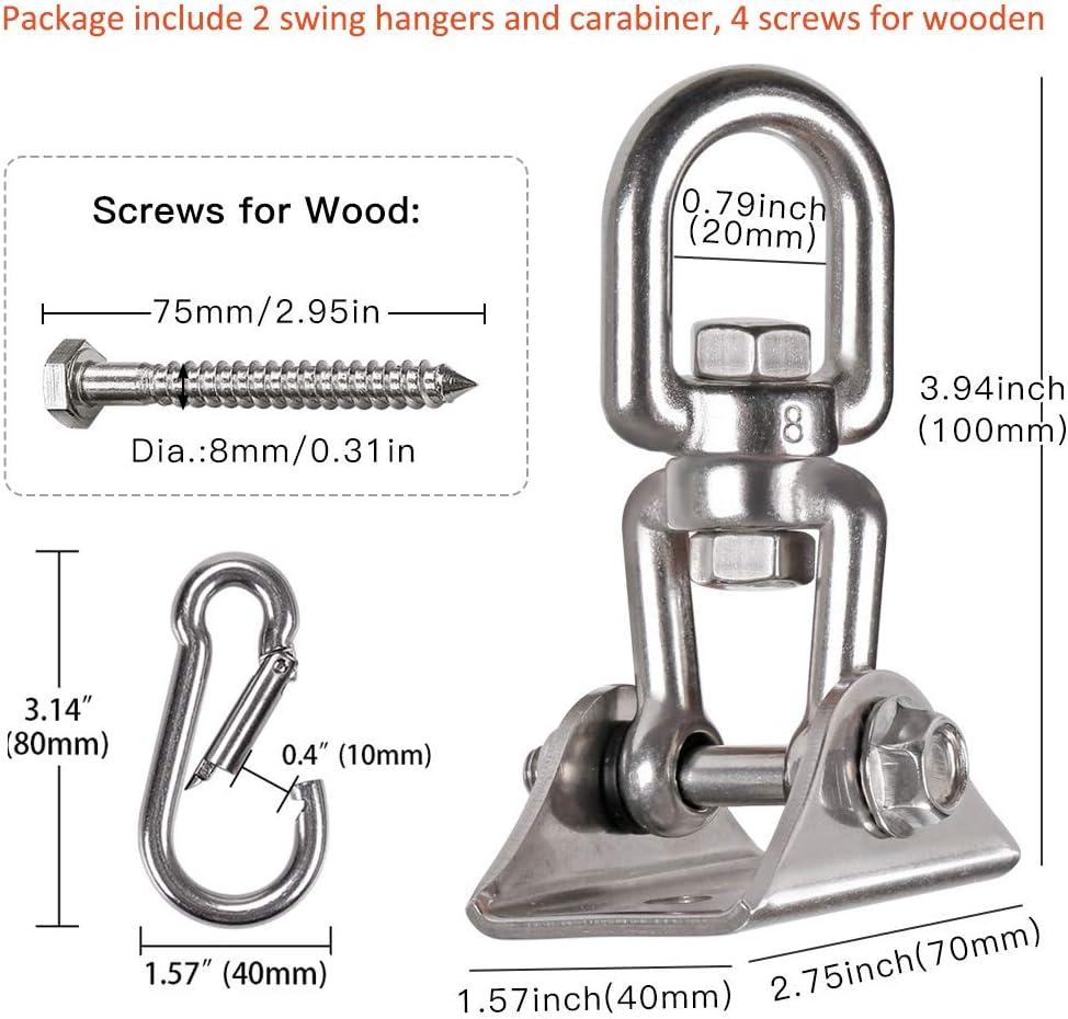 1200 Lb Load Punching Bag Hanger for Playground Gym Rope Hammock Chair Yoga Swing Stainless Steel Swing Hook for Ceiling Wooden Swing Set Bracket WAREMAID 2 Pack Heavy Duty 360/° Swivel Swing Hanger