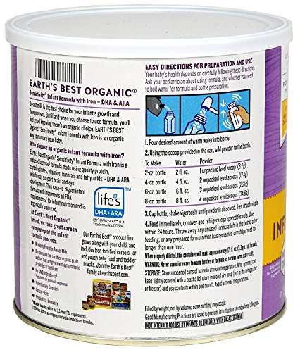 Earth's Best Baby Organic Sensitivity Infant Formula with Iron, 23.2 Ounce (Pack of 4) by Earth's Best (Image #4)
