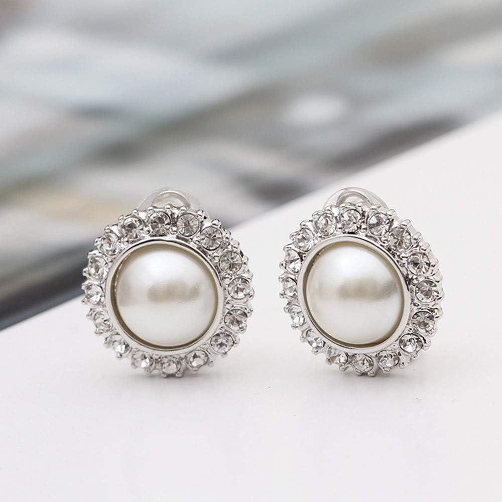 Vnlig Pendientes Pendientes de Oreja de Mujer Perforados de Europa y América Pendientes de Perlas Artificiales exageradas Pendientes de Perlas de Clip para Mujer con Arte Estilo de Boda Vintage