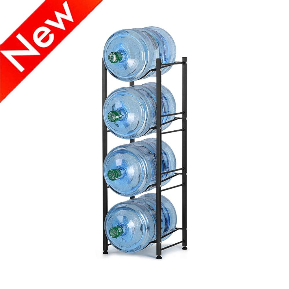 Nandae Water Cooler Jug Rack, 4-Tier Heavy Duty Water Bottle Holder Storage Rack for 5 Gallon Water Dispenser, Save Space (Black)