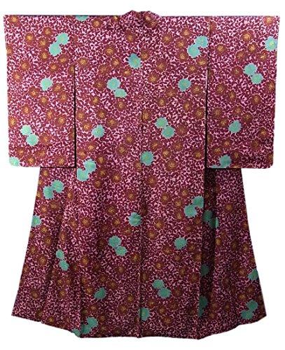 アンティーク 着物  バラの花 裄60cm 身丈150cm 正絹 袷