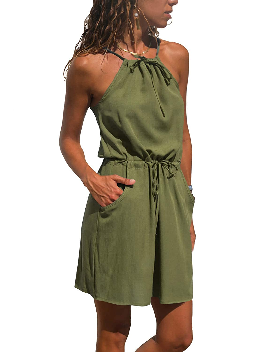 Amy Green686 sidefeel Women V Neck Halter Printed Casual Short Strap Mini Dress