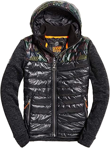 Superdry Storm Hybrid Chevron Colour Block Zip Hoodie at