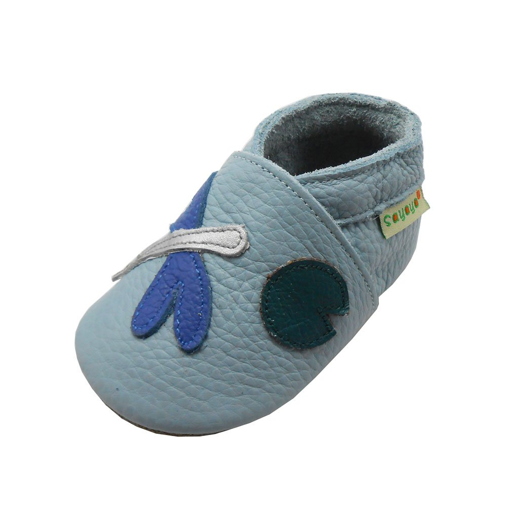 Sayoyo Baby Dragonfly Soft Sole Light Blue Leather Infant and Toddler Shoes(6-12 months, Blue) 10672