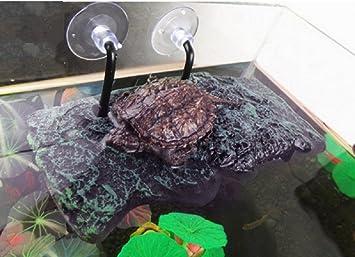 Plataforma de tortuga, Willdo PU espuma acuario flotador decoración Bask Terraza escalada tortuga brasileña