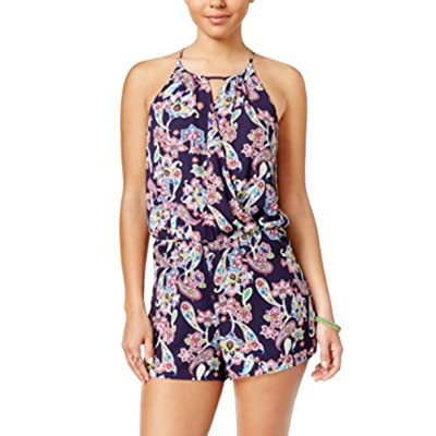 A. Byer Juniors Printed Halter Romper with Keyhole, Pat C, S: Clothing