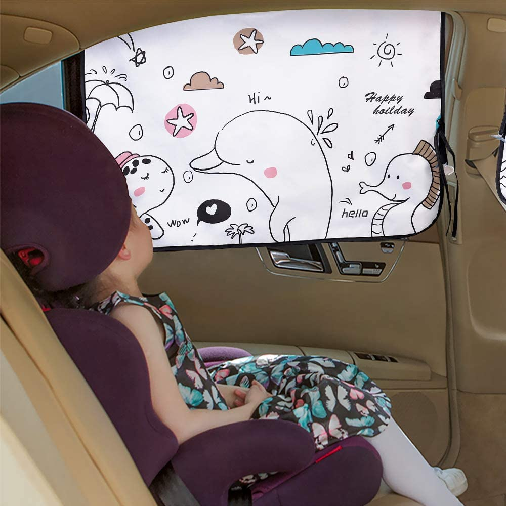 Sun UV Rays Yoobure Car Side Window Sun Shade Universal Reversible Magnetic Curtain for Baby and Kids with Sun Protection Block Damage from Direct Bright Sunlight and Light