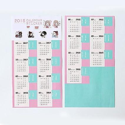 Pinzhi - 2 hojas con índices adhesivos de calendario del año ...