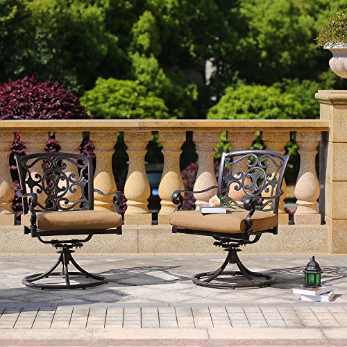 DOMI OUTDOOR LIVING Cast Aluminum Swivel Rocker Chairs with Cushions 2 Pcs Set (Cast Aluminum Swivel Rocking Chair)