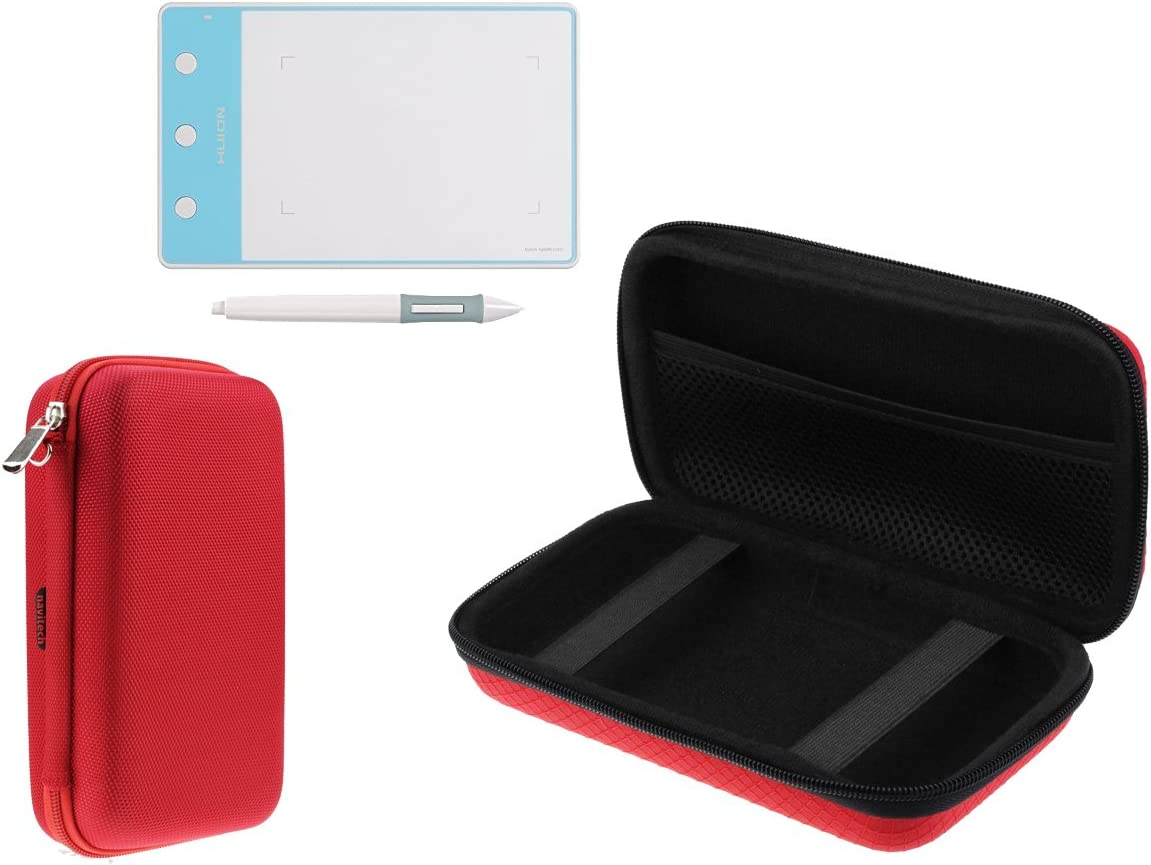 Navitech Red Graphics Tablet Case//Bag Compatible with The OSU Tablet VEIKK S640 Ultra-Thin 6x4 Inch Graphics Drawing Tablet