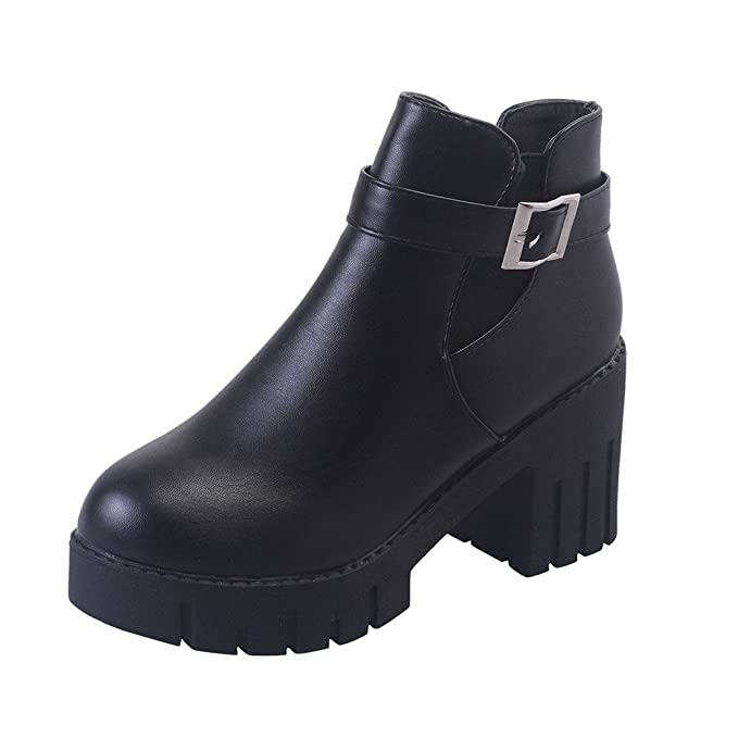 cb225b3fc9d Amazon.com  Faionny Women Belt Buckle Boots Faux Leather Ankle Boots  Platform High Heels Solid Shoe Shoes Warm Snowshoes  Clothing