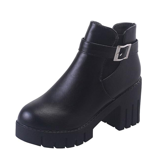 42650bab559 Amazon.com  Faionny Women Belt Buckle Boots Faux Leather Ankle Boots Platform  High Heels Solid Shoe Shoes Warm Snowshoes  Clothing