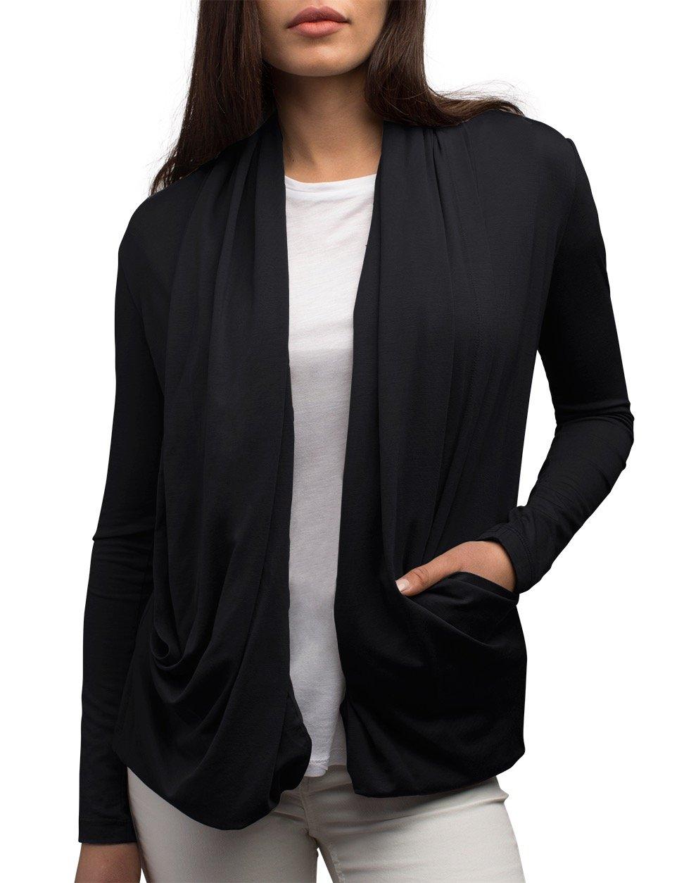 SCOTTeVEST Maddie Cardigan - 4 Pockets - Travel Clothing, Pickpocket Proof BLK M