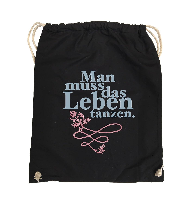 Comedy Bags - Man Muss Das Leben Tanzen. - Turnbeutel - 37x46cm - Farbe: Dunkelgrau/Eisblau-Blau