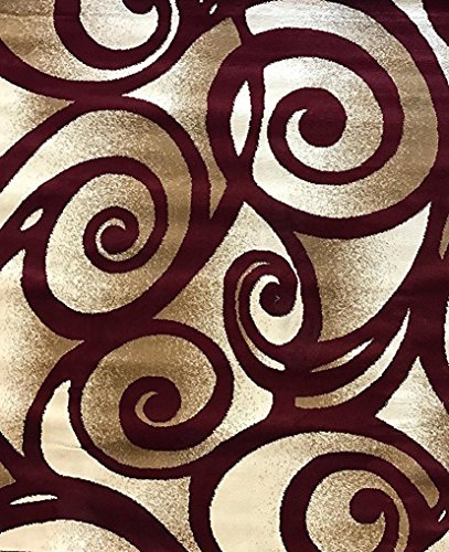 Bellagio Modern Area Rug Contemporary Swirl Burgundy Design 341 (8 Feet X 10 Feet 6 Inch)