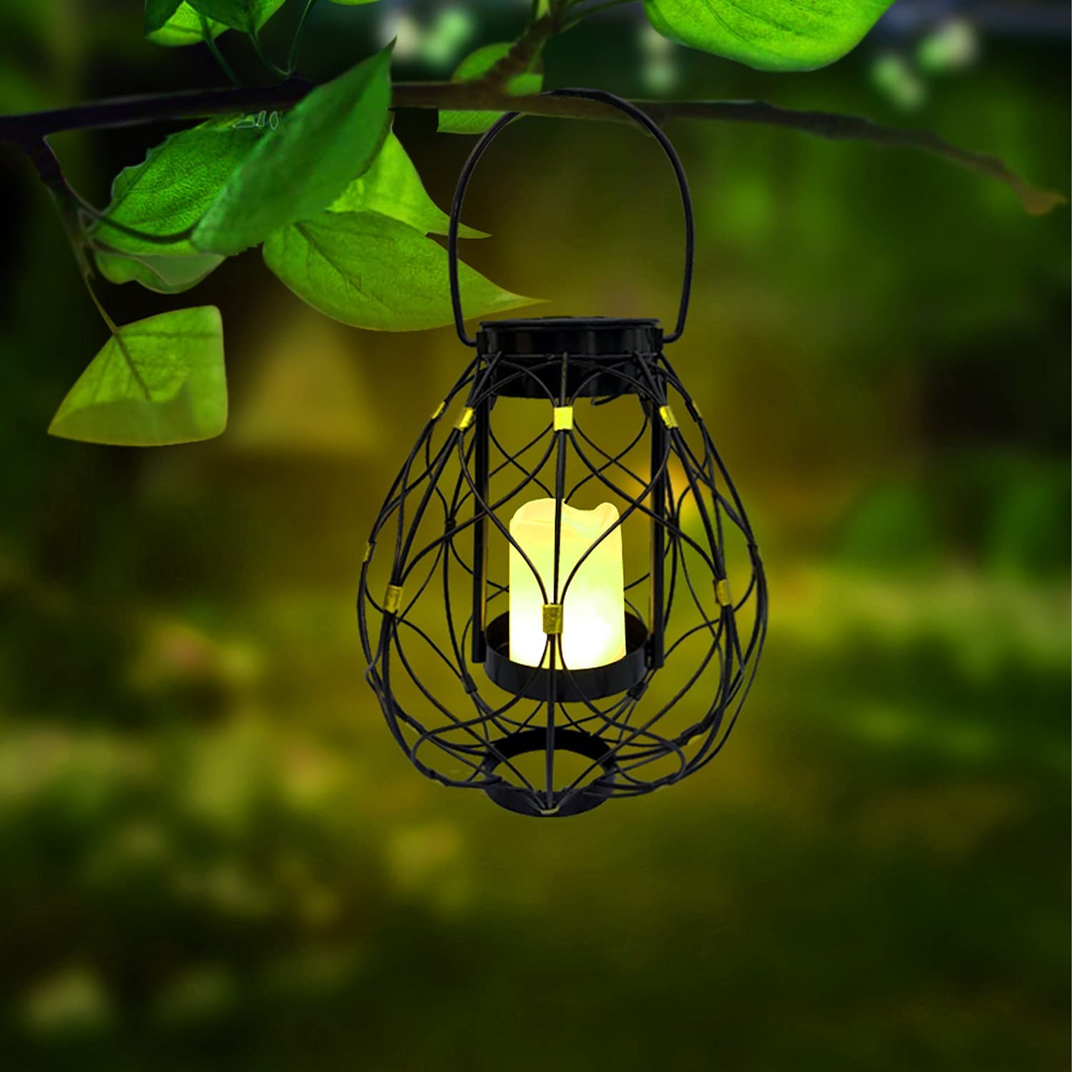 Hanging Solar Candle Lanterns Outdoor - shumi Candle Effect Lights Solar Powered with Handle, Warm White LED, Auto ON/Off, Perfect for Garden Yard Patio Porch Pathway Decor(1 Pack)
