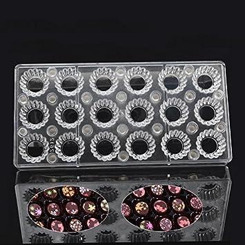 grainrain redondo Gear DIY Chocolate hoja de transferencia Custom magnético de moldes molde de policarbonato: Amazon.es: Hogar