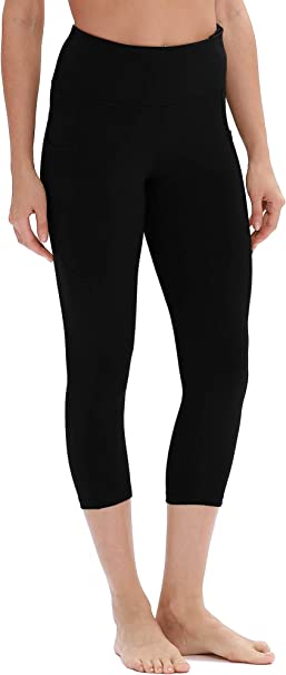 icyzone Yoga Pants for Women - High Waisted Workout Leggings with Pockets, Athletic Capris Gym Exercise Tights