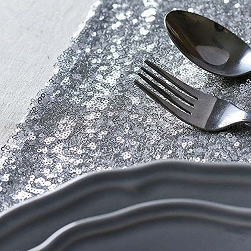 10 Pcs Silver Sequin Table Runners Sparkly Bling Wedding Party Decor 12''x118'' by Heaven Tvcz (Image #3)