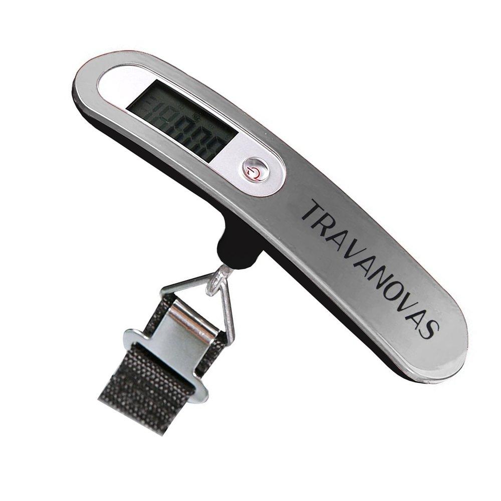Travanovas Portable Digital Hanging Compact Luggage Travel Scale w/ 110 lb Capacity Silver TLS-Silver