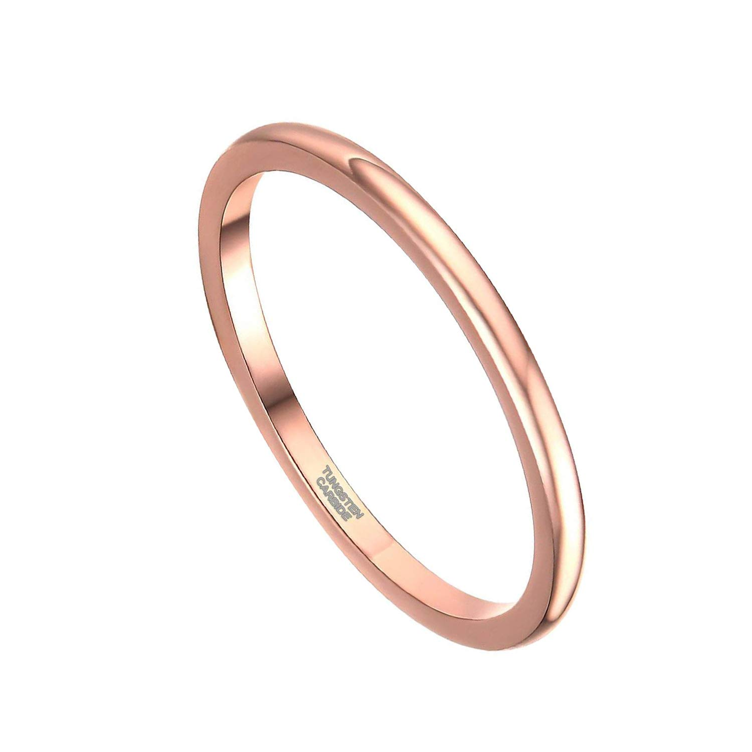 Greenpod 2mm Thin Tungsten Wedding Bands for Women Rose Gold Slim Domed Engagement Promise Ring Comfort Fit Size 8