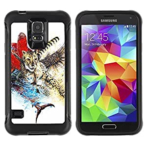 Hybrid Anti-Shock Defend Case for Samsung Galaxy S5 / Abstract Animal Colorful Painting