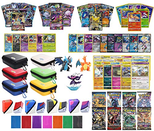 (Totem World Pokemon Premium Collection 100 Cards with GX Mega EX Shining Holo 10 Rares 4 Booster Pack - 100 Sleeves - Card Case - Deck Box and Figure)