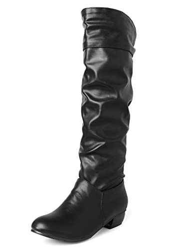 e4836a974ac Sungtin Women s Black Faux Leather Knee High Flat Slouch Boots 5 ...