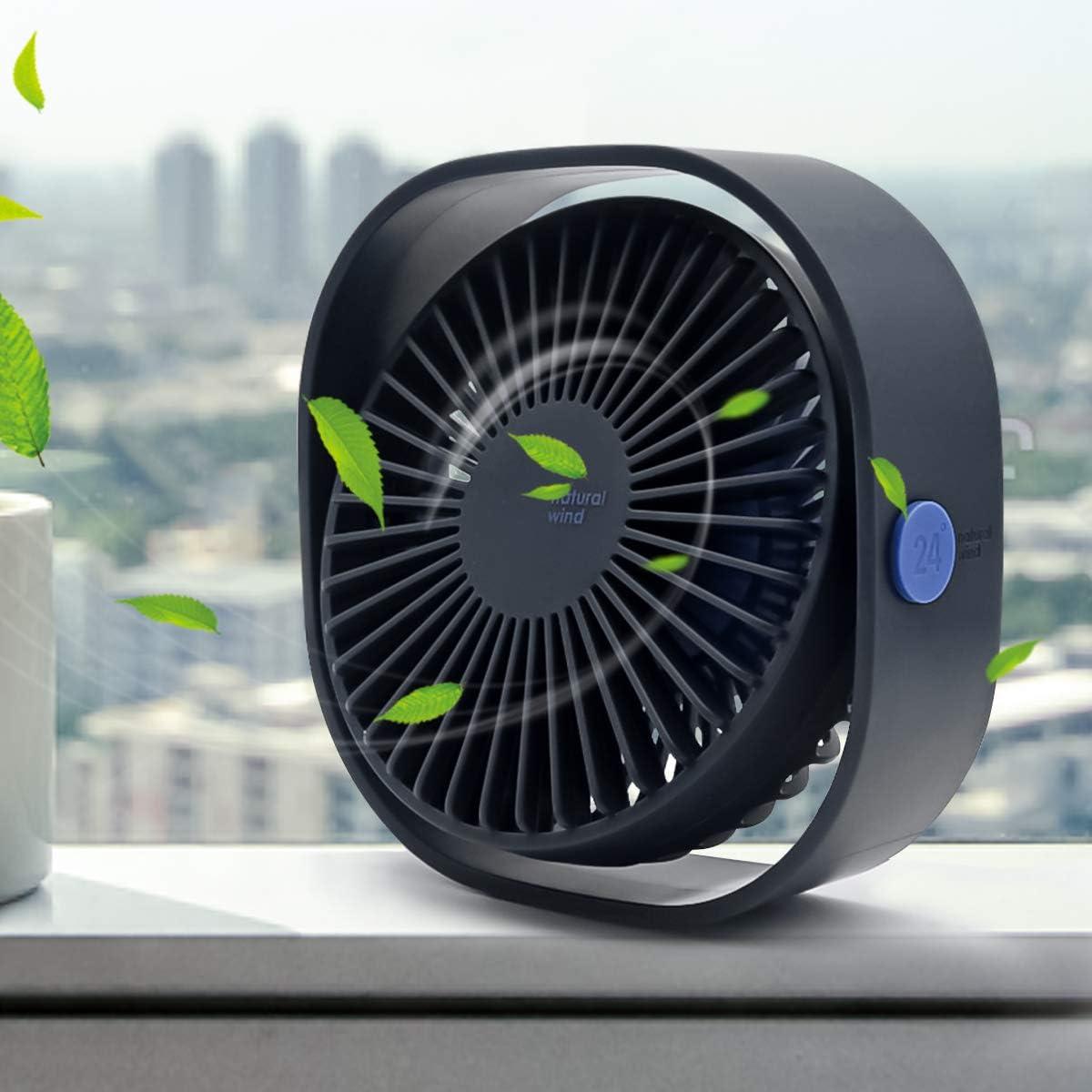 Mini USB Desk Fan, 3 Speed Personal Small Desktop Table Quiet USB Fan for Home Office Car Outdoor Travel (Blue)