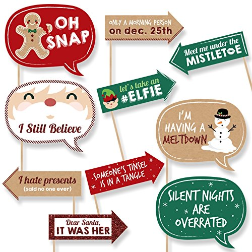 Funny Christmas - Holiday & Christmas Party Photo Booth Props - 10 Piece -
