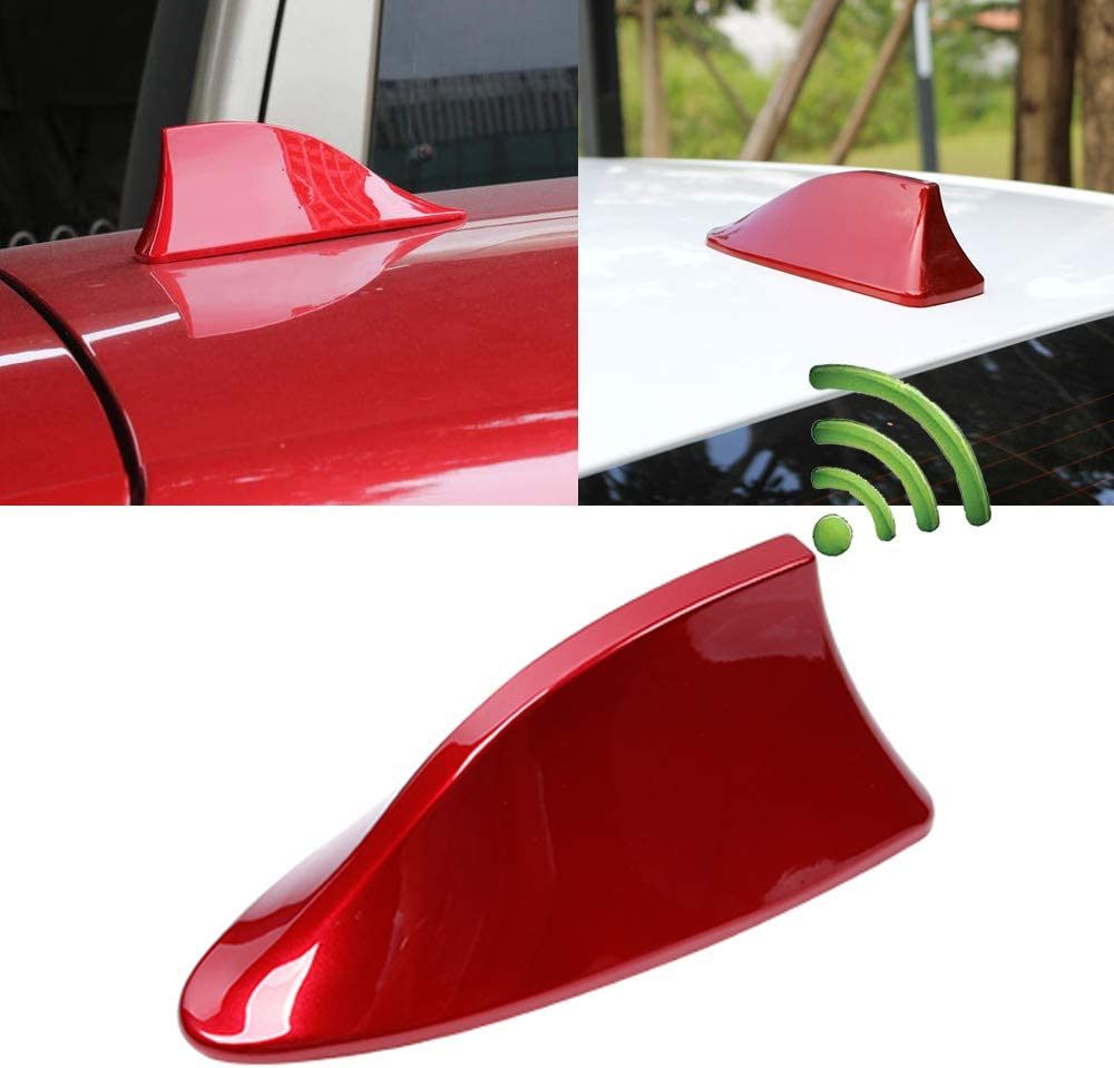 Heart Horse Shark Fin Antenna, Universal Auto Roof Shark Fin Antenna Cover AM/FM Radio Signal Function for Car SUV Truck Van Honda Accord Toyota (Red)