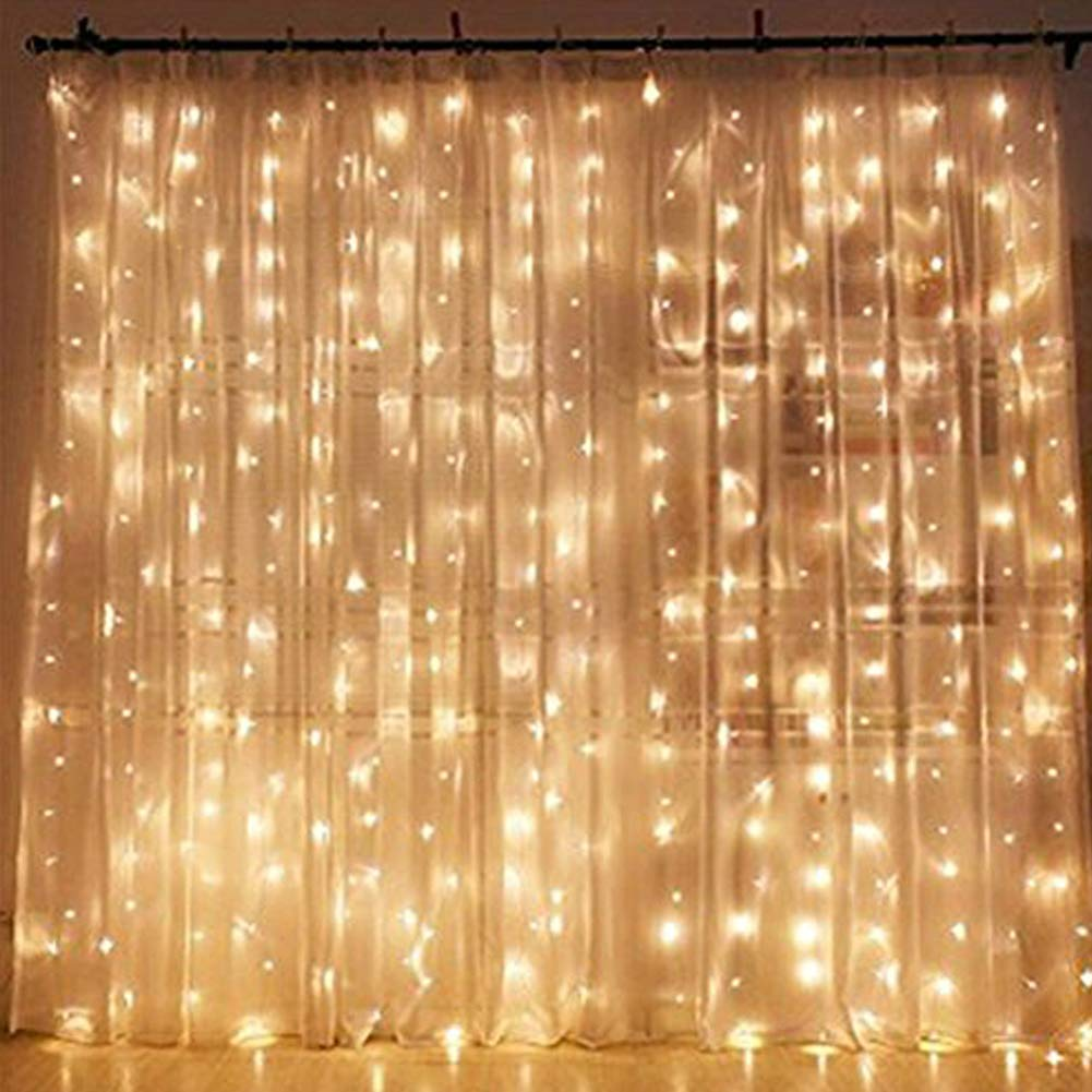 Twinkle Star 300 LED Window Curtain String Light Wedding Party Home Garden Bedroom Outdoor Indoor Wall Decorations, Warm White by Twinkle Star