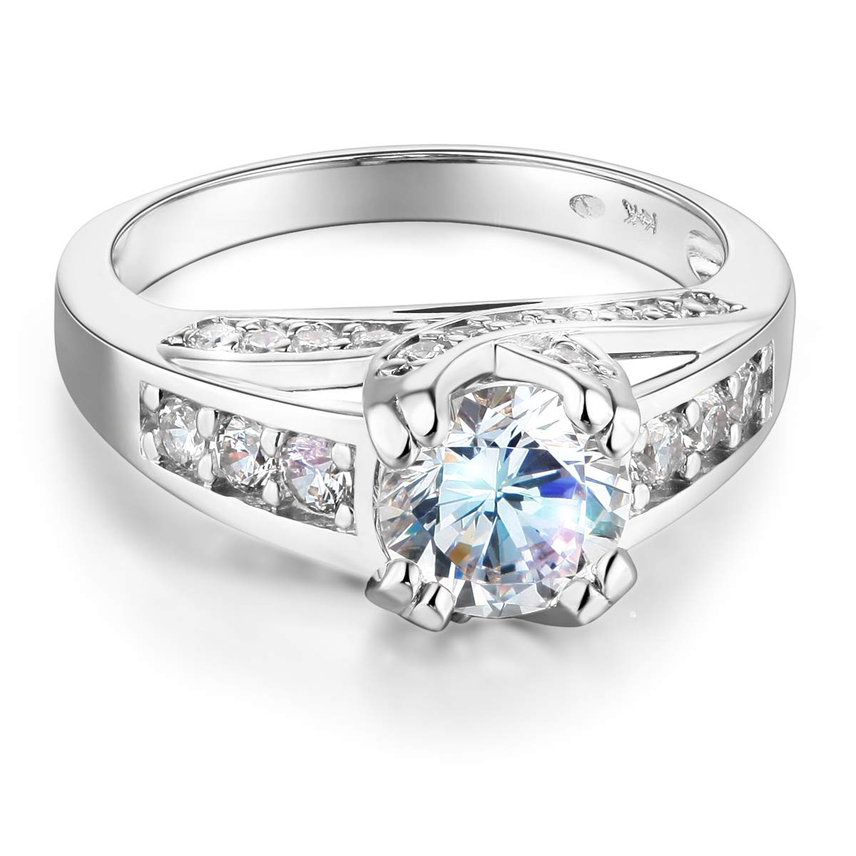 Wellingsale Ladies Solid 14k White Gold CZ Cubic Zirconia Round Cut Engagement Ring with Side Stones - Size 6