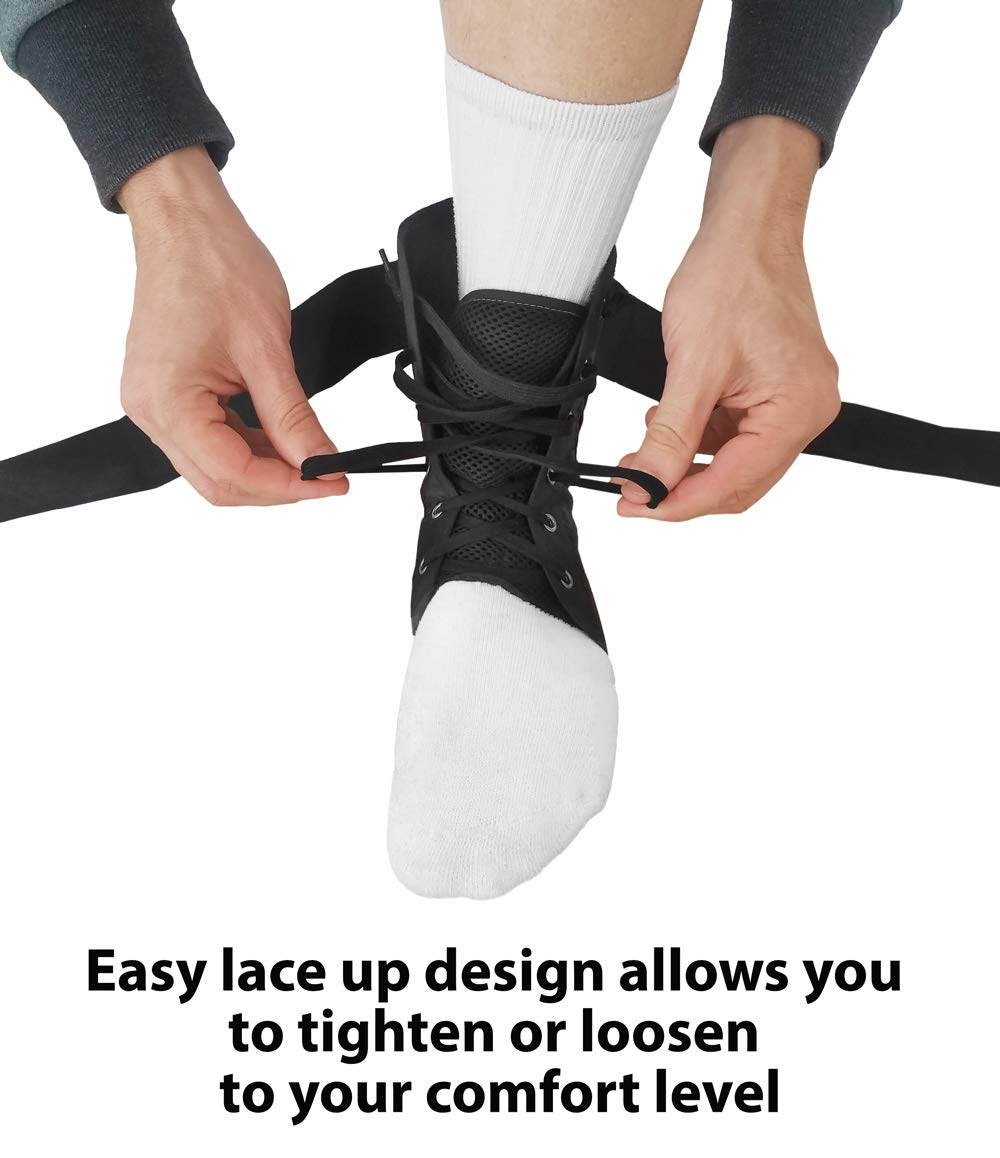 Sprained Ankle Stabilizer and Support Wrap Guard Copper Compression Lace Up Ankle Brace Guaranteed Highest Copper Lace Up Ankle Braces for Men and Women with Infused Fit Basketball Volleyball