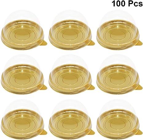 Toyvian 100 Piezas de Cajas Redondas de plástico para Pasteles ...