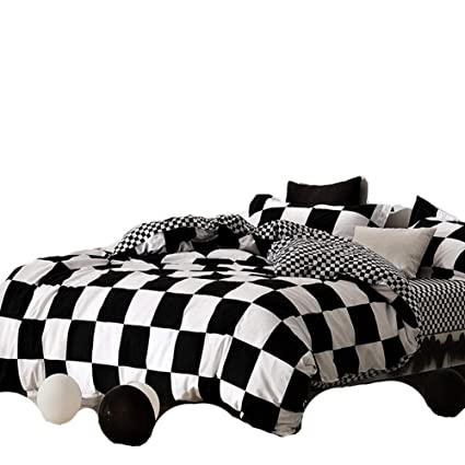 e970fe29299 Image Unavailable. Image not available for. Color  Chfcmboon Classical Black  and White Cotton Bedding Set Home Textile Bed Linen Duvet Cover Bedclothes  ...