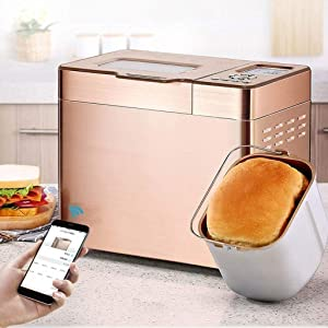 Bread Maker Bread Machine Multifunctional Stainless Steel Automatic with Yeast Dispenser Programmable Gluten Free Setting 13 Hours Delay Timer Power Off Memory Function
