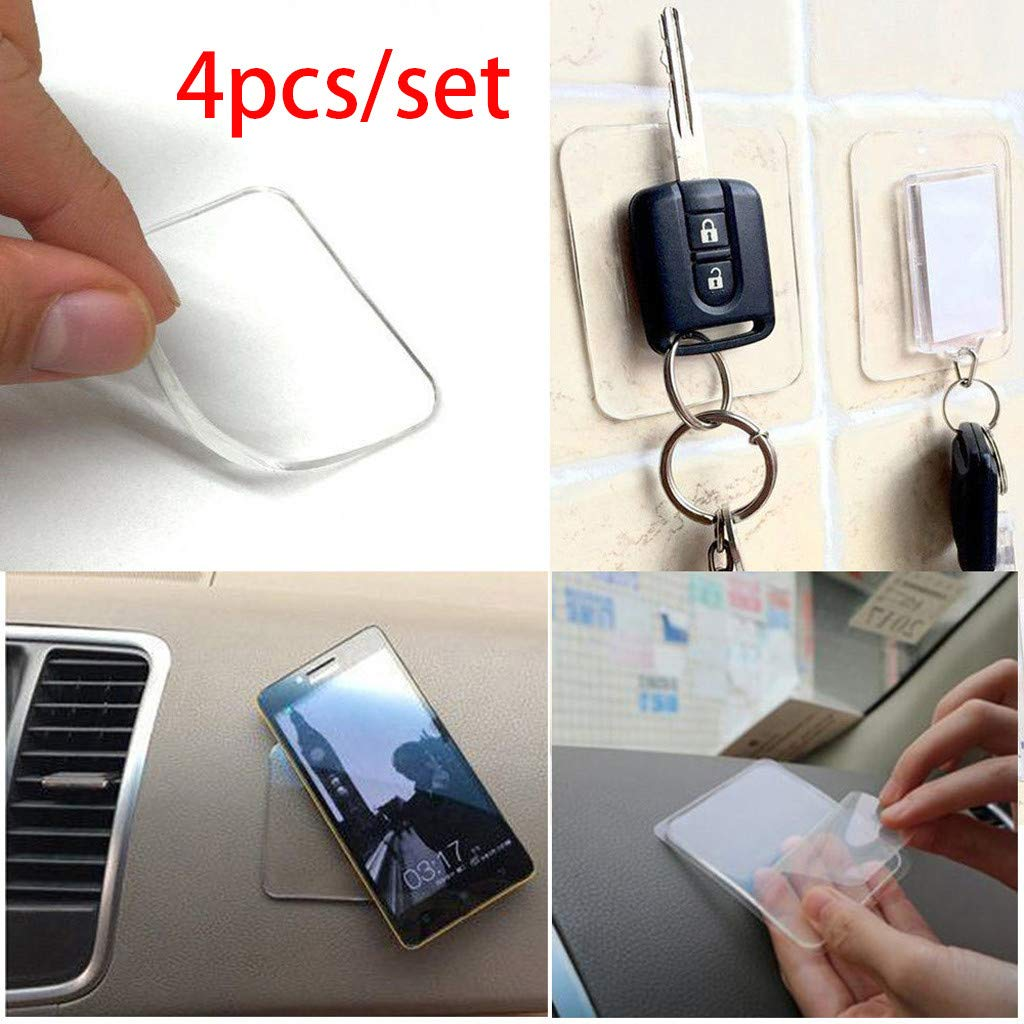SUJING Sticky Silicone Gel Pads Clear, Anti-Slip Gel Pads Auto Gel Holders,Sticky Anti-Slip Gel Pads - 4Pcs