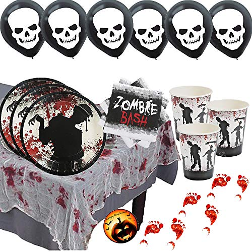 Zombie Bash Cocktail Party Supplies For 16 With Dessert Plates, Small Napkins, Cups, Guaze Tablecover, Bloody Footprint Decorations, Skull Balloons, and an EXCLUSIVE Happy Halloween Pin by Another Dream!