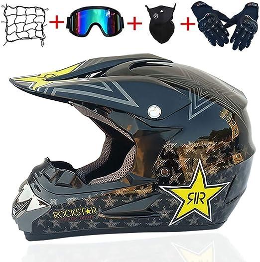 OUTLL Motocross Casco Ciudad Cascos Conjunto, con Gafas Guantes ...