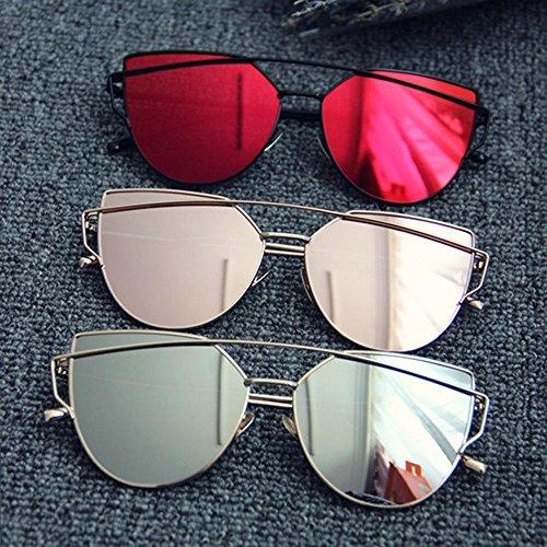 metal sol en sol de gafas Gafas eye sol AOLVO para Retro de Ojo espejo de la lentes calle con de soporte Marco moda mujeres gato funda negro gold Black negro CAT gafas mujer de de UV400 PqUxdF6