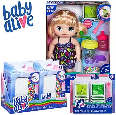 Baby Alive Sweet Spoonfuls Baby Blonde Hair Doll, Bundle Exclusive, Powdered Food and Diaper Refill, Toy for Kids 3 Years Old and Up