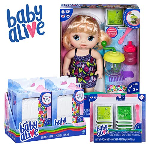 Baby Alive Sweet Spoonfuls Baby Blonde Hair Doll, Bundle Exclusive, Powdered Food and Diaper Refill, Toy for Kids 3 Years Old and Up (Doll Accessory Alive Baby)